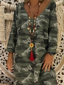 Army Green Floral Print Long Sleeve Casual Sweet Going out Midi Dress