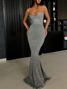 Silver Sequin Glitter Spaghetti Strap Backless Sparkly Mermaid Banquet Evening Prom Maxi Dress