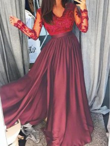 Maroon Patchwork Lace Irregular Side Slit Banquet Prom Evening Wedding Party Maxi Dress