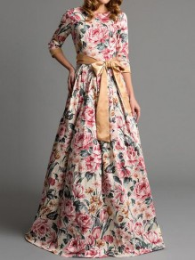 Beige Floral Pattern Sashes 3/4 Sleeve High Waisted Vintage Maxi Dress