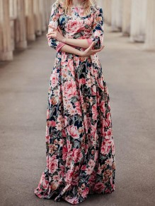 Navy Blue Floral Pattern Sashes 3/4 Sleeve High Waisted Vintage Maxi Dress