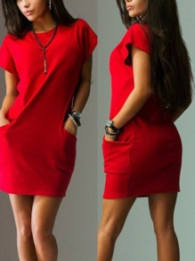 Red Pockets Round Neck Short Sleeve Casual Mini Dress