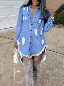 Blue Irregular Single Breasted Pockets Ripped Destroyed High-low Denim Casual Midi Dress