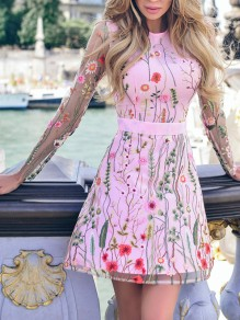 Pink Floral Embroidery Print Sweet Party Mini Dress