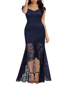 Navy Blue Patchwork Lace Cut Out Zipper V-neck Cap Sleeve Homecoming Party Elegant Midi Dress