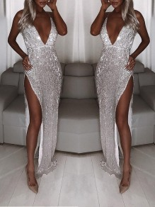 Silver Sequin Glitter Sparkly Deep V-neck Side Slit Party Prom Maxi Dress