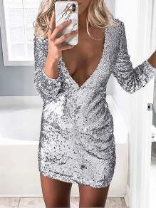 Silver Patchwork Sequin Glitter Sparkly Shiny Skinny Deep V-neck Party Clubwear Rave Music Festival Mini Dress