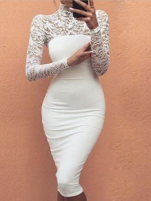 White Zipper Lace Cut Out High Neck Hip Bodycon Cocktail Party Homecoming Party Elegant Midi Dress