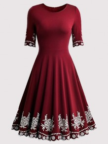 Wine Red Snowflake Floral Draped Round Neck Homecoming Christmas Party Midi Dress