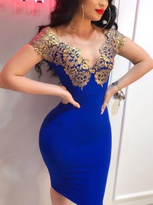 Royal Blue Patchwork Lace Off Shoulder Bodycon Party Midi Dress