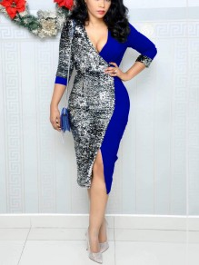 Blue Patchwork Sequin Front Slit Deep V-neck Long Sleeve Sparkly Glitter Party Midi Dress