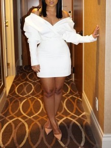 White Off Shoulder Cascading Ruffle Puff Sleeve V-neck Bodycon Party Mini Dress