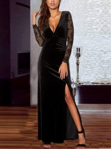 Black Patchwork Lace Velvet Irregular Draped Slit V-neck Long Sleeve Elegant Retro Banquet Maxi Dress