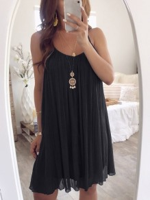 Black Patchwork Condole Belt Pleated Collarless Bohemian Mini Dress
