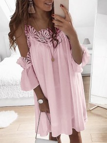 Pink Patchwork Cut Out Lace Condole Belt Three Quarter Length Sleeve Going out Mini Dress