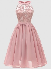 Pink Patchwork Lace Cut Out Backless Sleeveless Elegant Midi Dress