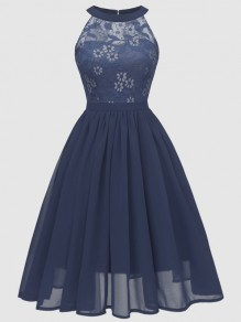Navy Blue Patchwork Lace Cut Out Backless Sleeveless Elegant Midi Dress