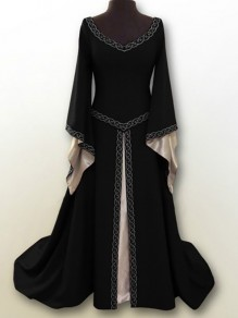 Black Embroidery V-neck Long Sleeve Classic Retro Gothic Festival Halloween Palace Cosplay Maxi Dress