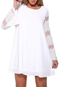 White Patchwork Lace Sheer Layers Of Chiffon Round Neck Above Knee Elegant Mini Dress