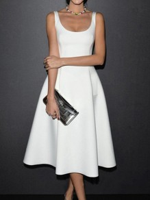 White Pockets Scoop Neck Big Swing Church Ball Gown Prom Wedding Guest NYE Skater Midi Dress