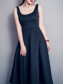 Black Pockets Scoop Neck Sleeveless Big Swing Church Ball Gown Prom Midi Dress