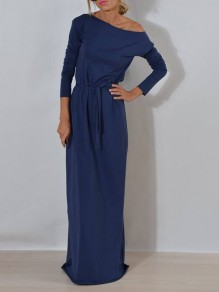 Dusty Blue Sashes Asymmetric Shoulder Long Sleeve Homecoming Party Maxi Dress