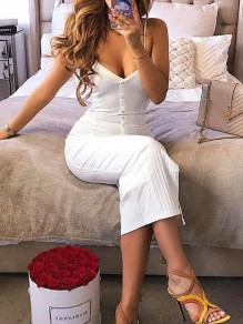 White Buttons Spaghetti Strap Single Breasted Bodycon Deep V-neck Maxi Dress
