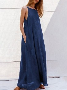 Navy Blue Pockets Draped Backless Multi Way Sleeveless Going out Maxi Dress