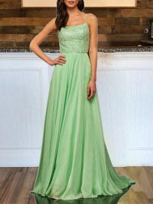 Light Green Sequin Glitter Sparkly Lace-up Backless Elegant Bridesmaid Prom Party Maxi Dress