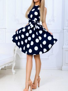 Dark Blue Polka Dot Sashes High Waisted Skater Tutu Homecoming Party Mini Dress