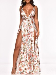 White Floral Spaghetti Strap Slits On Both Sides Deep V-neck Bohemian Beachwear Maxi Dress
