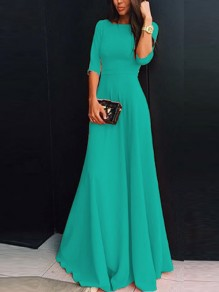 Green Chiffon Draped Zipper Round Neck Three Quarter Length Sleeve Elegant Maxi Dress