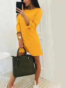 Yellow Bow Draped Round Neck Three Quarter Length Sleeve Fashion Mini Dress