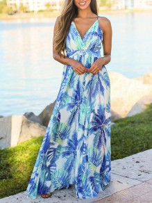 Light Blue Gypsy Floral Condole Belt Backless V-neck Boho Beach Maxi Summer Dress
