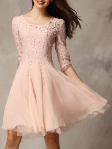 Pink Patchwork Lace Grenadine Elbow Sleeve Sweet Birthday Homecoming Party Bridesmaid Prom Mini Dress