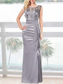 Grey Patchwork Embroidery Appliques Ruched Ruffle Slit Banquet Maxi Dress