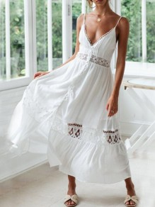 White Patchwork Lace Spaghetti Strap Deep V-neck Single Breasted Backless Bohemian Maxi Dress