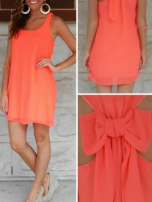 Coral Bow Round Neck Sleeveless Plus Size Chiffon Cover Up Flowy Beach casual Mini Dress