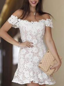 White Lace Cut Out Pleated Ruffle Boat Neck Short Sleeve Elegant Mini Dress