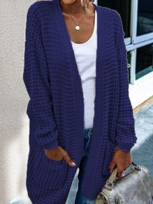 Navy Blue Patchwork Pockets Ruffle Comfy V-neck Outdoors Cardigan?Sweater