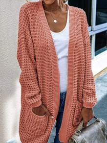 Pink Patchwork Pockets Ruffle Comfy V-neck Outdoors Cardigan?Sweater