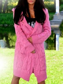 Pink Patchwork Pockets Comfy Hooded Going out Cardigan?Sweater