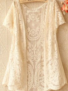 Beige Flowers Hollow-out V-neck Long Sleeve Lace Cardigan