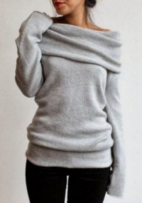 Grey Plain Turndown Collar Long Sleeve Pullover Sweater