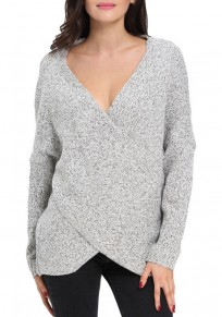 Grey Chunky Irregular Front Cross Wrap Plunging Neck Oversized Fashion Knit Pullover Sweater