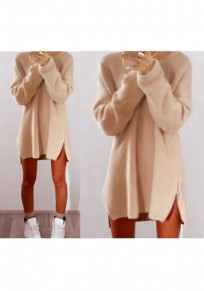 Beige Plain Irregular Zipper Casual Oversized Pullover Sweater With Legging