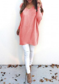 Pink Orange Plain V-neck Long Sleeve Casual Loose Pullover Sweater