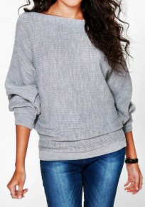 Grey Plain Boat Neck Long Sleeve Casual Pullover Sweater
