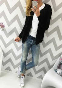 Black Plain Long Sleeve Casual Slim Cardigan Sweater