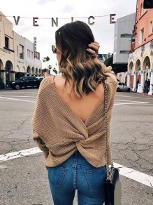 Apricot Irregular Cross Back V-neck Backless Pullover Sweater